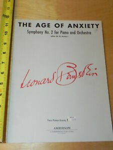 Age Of Anxiety Symphony 2 Symphonie Nr. 2 Bernstein TWO PIANO SCORE 1966? $18.49