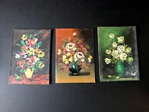 Lot of 3 5quot; x 7quot; Vintage Paintings Wood Canvas Cardboard $25.00