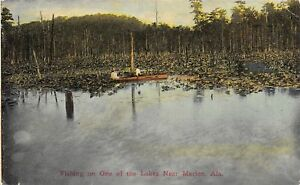 Marion Alabama Fishing in Lily Pads Boat on Lake JC Mickleboro Pub 1908 ZIM PC