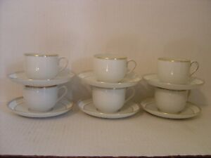 SET OF 6 B G BING GRONDAHL WHITE AND GOLD PORCELAIN CUPS AND SAUCERS $59.99