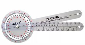 Baseline Plastic Goniometer HiRes 360 Degree Head 12quot; Arms 12 1000HR NEW $20.00