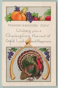 Thanksgiving Turkey Framed Under Large Wishbone Pumpkin Grapes Whitney Made Emb $8.00