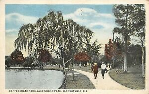 Jacksonville Florida Confederate Park Gentlemen on Lake Shore Path 1923 PC $8.00