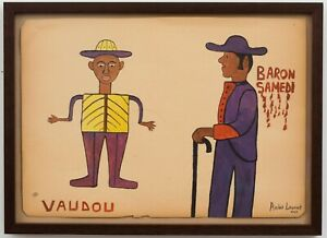 ANTIQUE ORIGINAL COLLECTIBLE HAITIAN ART PAINTING ANDRE LAURENT quot;VOODOOquot; HAITI $299.00