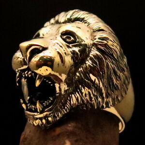 Excellent crafted Men#x27;s Animal Ring ancient Male Lion Solid Brass $21.60