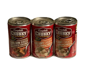 3 Campbell#x27;s CHUNKY Soup 1 Sirloin Burger 18.8 oz amp; 2 Chicken amp; Dumplings $15.99