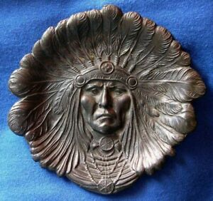 1069 Antique bronze American Indian Chief plate $295.00