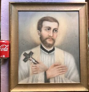 Antique painting portrait possibly of Saint Francis from old Church. $299.99