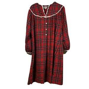 Lanz Of Salzburg Red Plaid Cotton Flannel Nightgown L S Lace Trim Womens Small $34.90