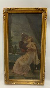 Antique Oil Canvas Painting 1890s 19th Century Courting Couple Wanamaker Store $250.00