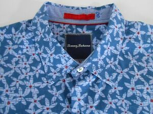 Tommy Bahama Mens Designer Long Sleeve Blue Floral Silk Blend Casual Shirt Large