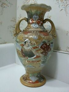 Japanese Earthenware Pottery Satsuma Meiji Asian Buddha God Flower Moriage Vase