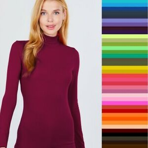 Turtleneck T Shirt Long Sleeve Light Weight Active Basic Stretch Top S M L $10.50