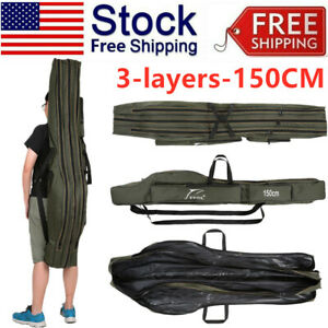 USA Portable Fishing Storage Bag Folding Tackle Tools Canvas Carrier Case L5S4