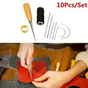 Leather Sewing Needles Stitching Awl Needle Kit Thread Thimble Shoes Repair Tool $2.23
