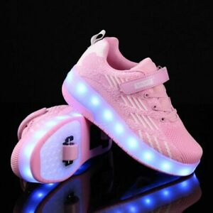 Roller Skate Shoes Usb Charging Boys Girls Led Sneakers With Wheels $63.52