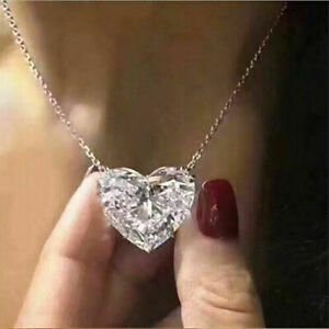 Fashion Heart 925 Silver Necklace Pendant for Women White Sapphire Jewelry Gift $1.99