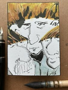 PocoArtist original ACEO contemporary abstract outsider ink watercolor art 103# $20.00