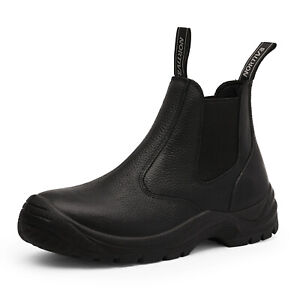 Men#x27;s Slip On Work Boots Lightweight Leather Waterproof Industrial Construction