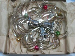 Vintage Tinsel Silver Bells Hanging wall decoration Christmas IOB