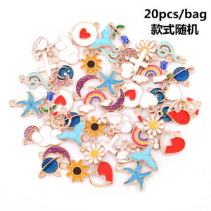 20Pcs Set DIY Mixed Enamel Random Color Alloy Pendant Charms Jewelry Accessories $2.98