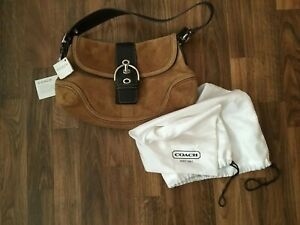 Coach Purse Shoulder Hand Bag Brown and Tan Suede Leather with Dust Bag