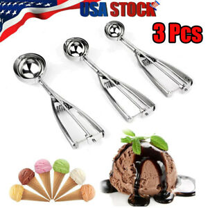 3PCS Ice Cream Food Scoop Stainless Steel With Trigger Cookie Spoons Set SML