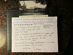 Edgar Tafel Hand Written And Signed Letter amp; Frank Lloyd Wright Post Card To ET $89.00