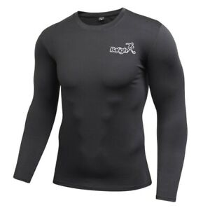 Men Compression Cool Dry Shirt Base Layer Sports Tight Long Sleeve Workout Tops $9.49