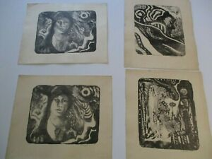 LOT OF 4 VINTAGE LITHOGRAPH ABSTRACT EXPRESSIONISM SIGNED MYSTERY 1960#x27;S NUDE $792.00