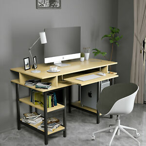 Computer Desk Laptop Workstation Study Table Home Office Furniture Wood Yellow $135.99