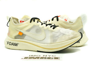 NIKE ZOOM FLY USED SIZE 8.5 OFF WHITE WHITE MUSLIN AJ4588 100