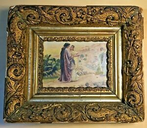 Antique Oil on Board Painting Ruth and Naomi 1895 Framed Christian Bible Women $98.00