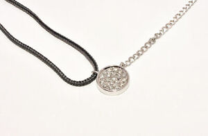 .16ct Round Diamond Pendant Necklace in 14K White Gold amp; Black Silk Cord