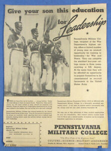 Vintage 1942 Pennsylvania Military College Newspaper Print Ad $9.99