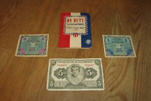 Antique On Duty For God and 3 Foreign Currency Bills Eine Mark Cinq Francs #1188 $15.00