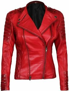 Blingsoul Red Leather Jacket Women Motorcycle Style Womens Leather Jacket