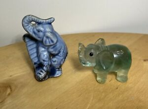 Elephant 2 Glass Elephant Blue Ceramic and Green Blown Glass Tiny Old Vintage $24.39