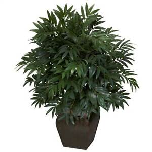 Nearly Natural Double Bamboo Palm With Decorative Planter Silk Artificial Green $106.95