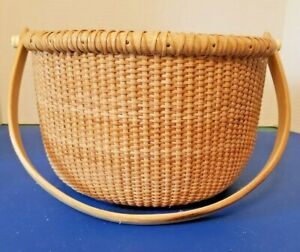 NANTUCKET STYLE LINED SEWING BASKET WOOD HANDLE 10quot; X 6quot; DEEP DRAWSTRING $55.00