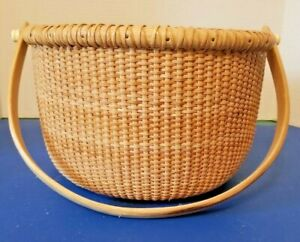 """NANTUCKET STYLE LINED SEWING BASKET WOOD HANDLE 9quot; X 6½""""quot; DEEP DRAWSTRING $50.00"""