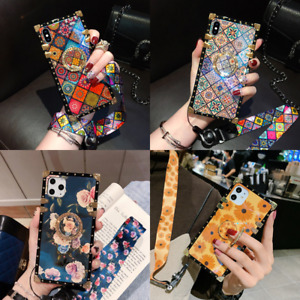 Luxury Flowers Metal Square Case w Ring For iPhone 12 Pro Max 11 XS Max XR 7 8 $11.85