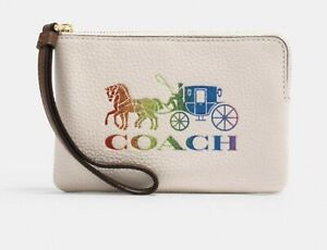 Coach Corner Zip Wristlet With Rainbow Horse And Carriage