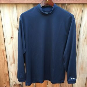 ⛳️ Nike Fit Dry Golf Men's L S Shirt Blue Medium Mock Neck Gym Workout Casual $19.99