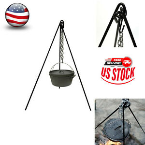45quot; Heavy Duty Cast Iron Tripod Camping for Outdoor Camp Fire Cooking Grill Oven