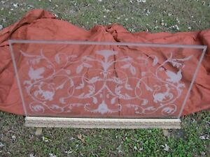 GLASS FIREPLACE SCREEN Etched Frosted Custom Hand Made Vintage Freestanding $995.00