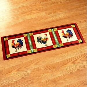Red Country French Rooster Kitchen Floor Runner Skid Resistant Rug 20#x27;#x27; x 60#x27;#x27;