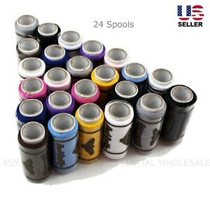 Lot 24 Spools Sewing Thread Polyester Assorted Colors Best Quality All Purpose $8.99