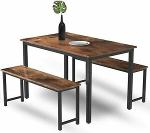 MIERES 3 Piece Dining Table Set for 4 Modern Breakfast Nook with Metal Frame an $149.99