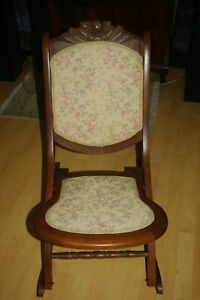Antique Folding Rocker Rocking Chair with Tapestry Seat and Back $90.00
